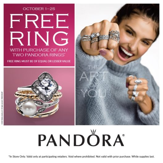 Woman wearing Pandora rings
