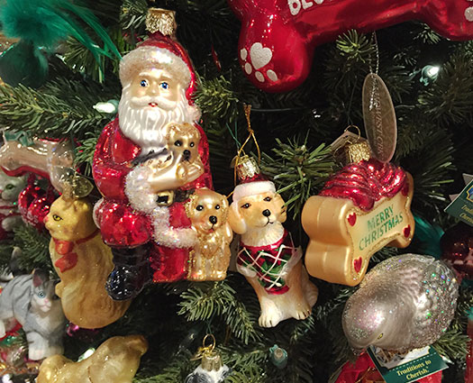Dog santa ornament