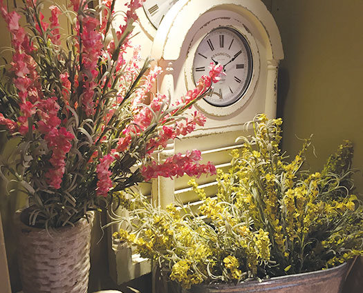 Easter clock flowers