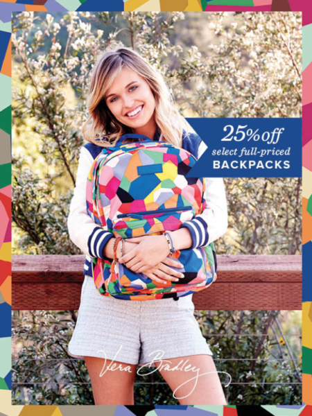 Woman wearing Vera Bradley backpack