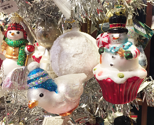Christmas bird and snowman ornament