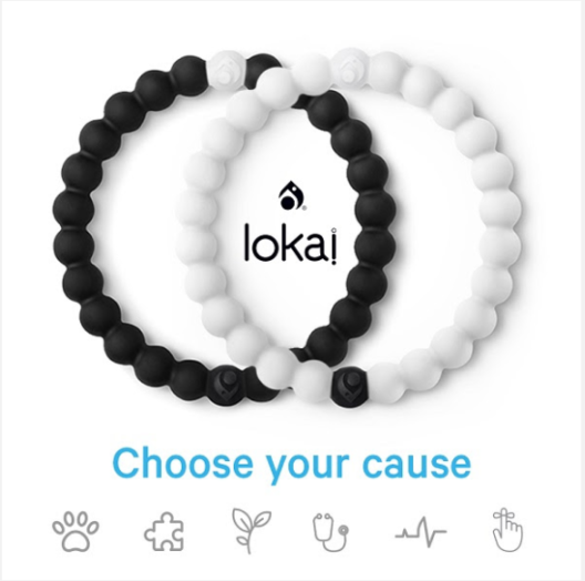 Lokai black and white bracelet