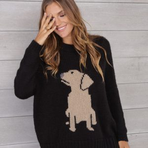 Woman modeling puppy shirt