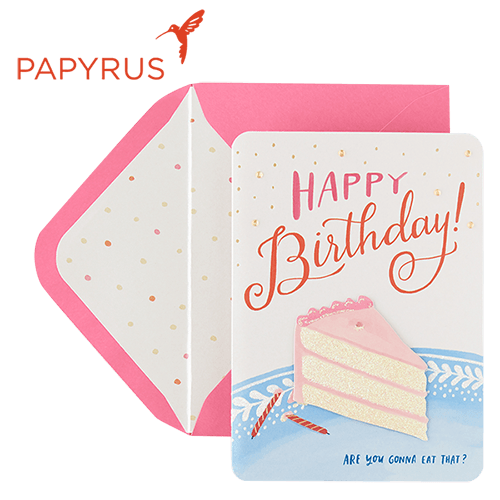 Happy Birthday card with pink envelope from Papyrus