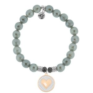 Grey Agate Heart of Gold